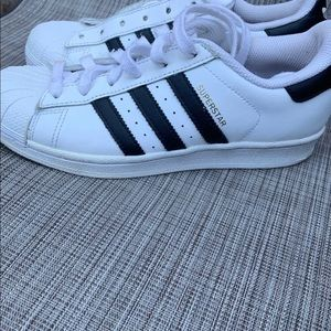 Adidas black and white/gold Superstar women's shoe